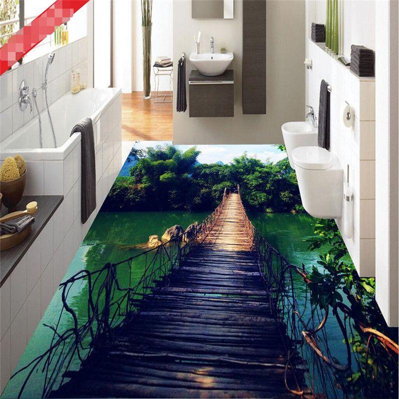 Photo Floor Wallpaper Hanging Wooden Bridge Natural Forest Art Bathroom Mural 3d Pvc Wall Paper Self Adhesive F Floor Murals Floor Wallpaper 3d Floor Painting