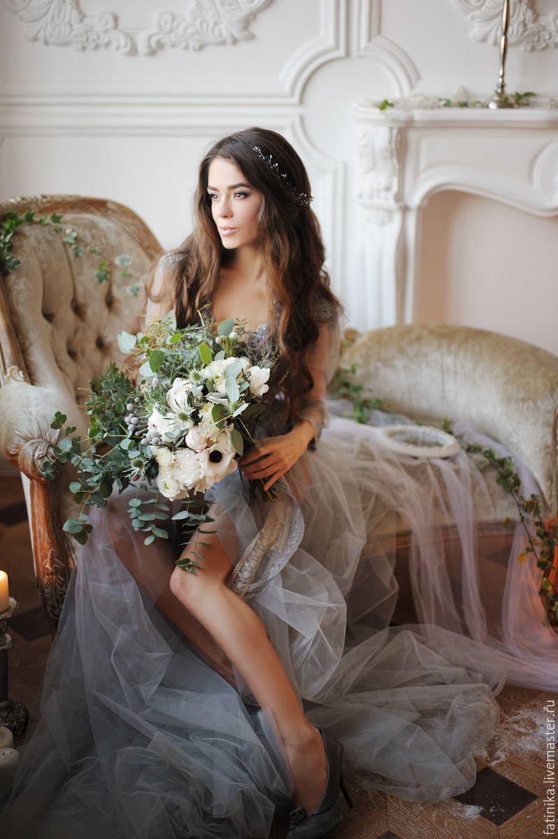 Свадебный венок из кристаллов пудровый / свадебное ...