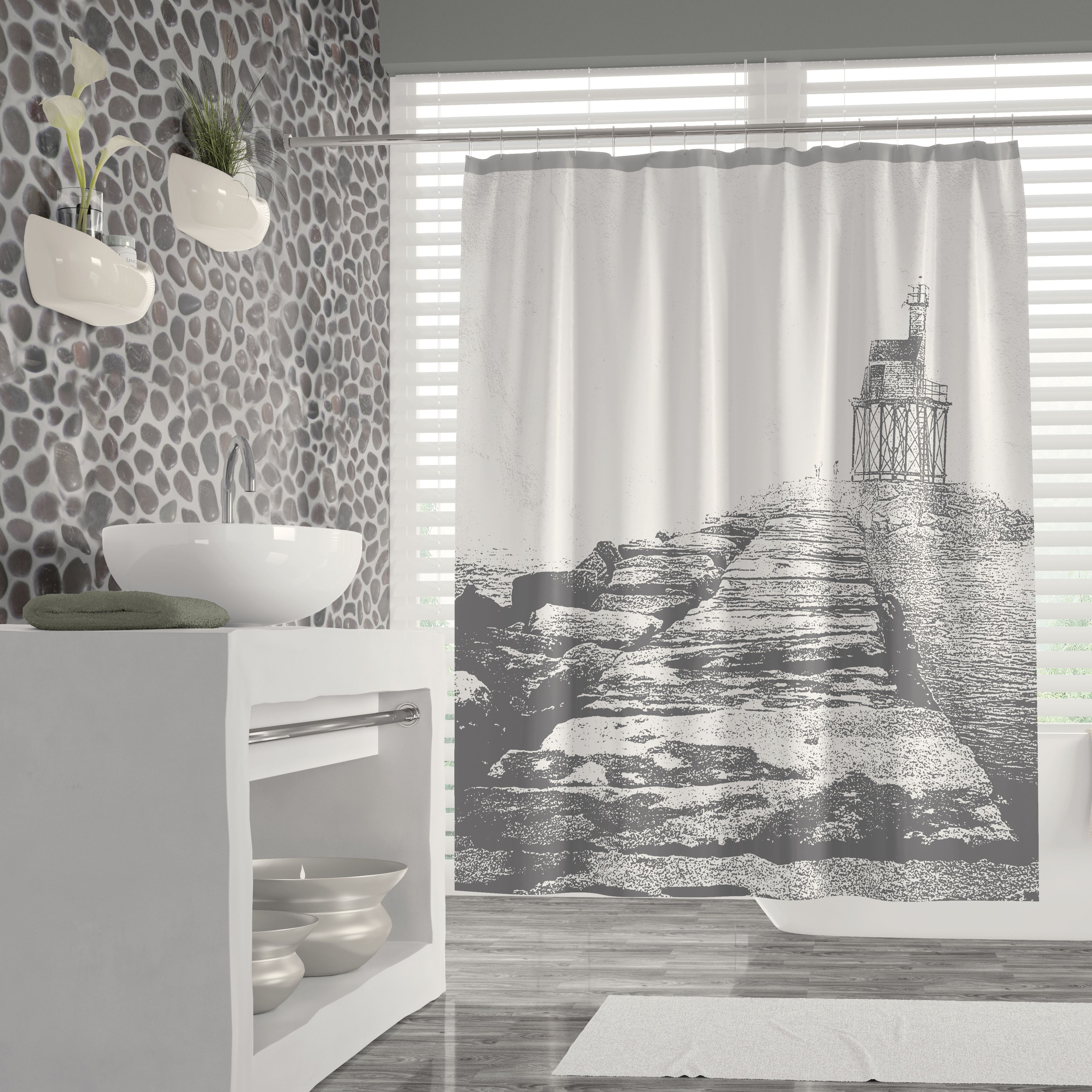 Foggy Coastal Gloucester Breakwater Gray And White Shower Curtain