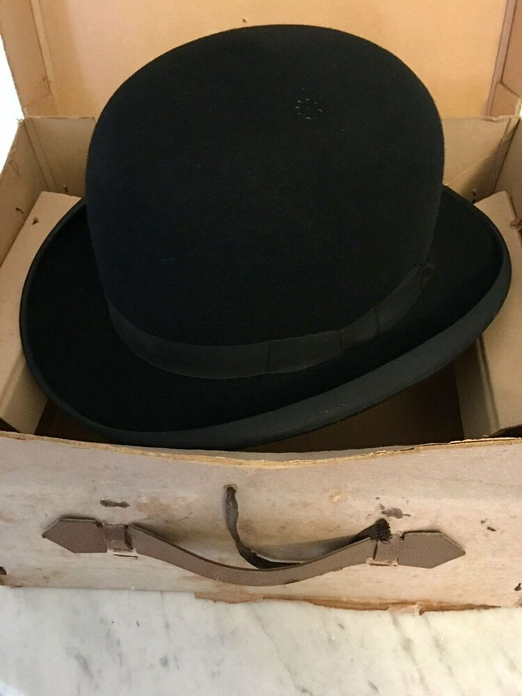 afcf93bba594d Vintage 'The Record Make' 6 3/4 Small Felt Bowler Hat with Dunn & Co Hat Box