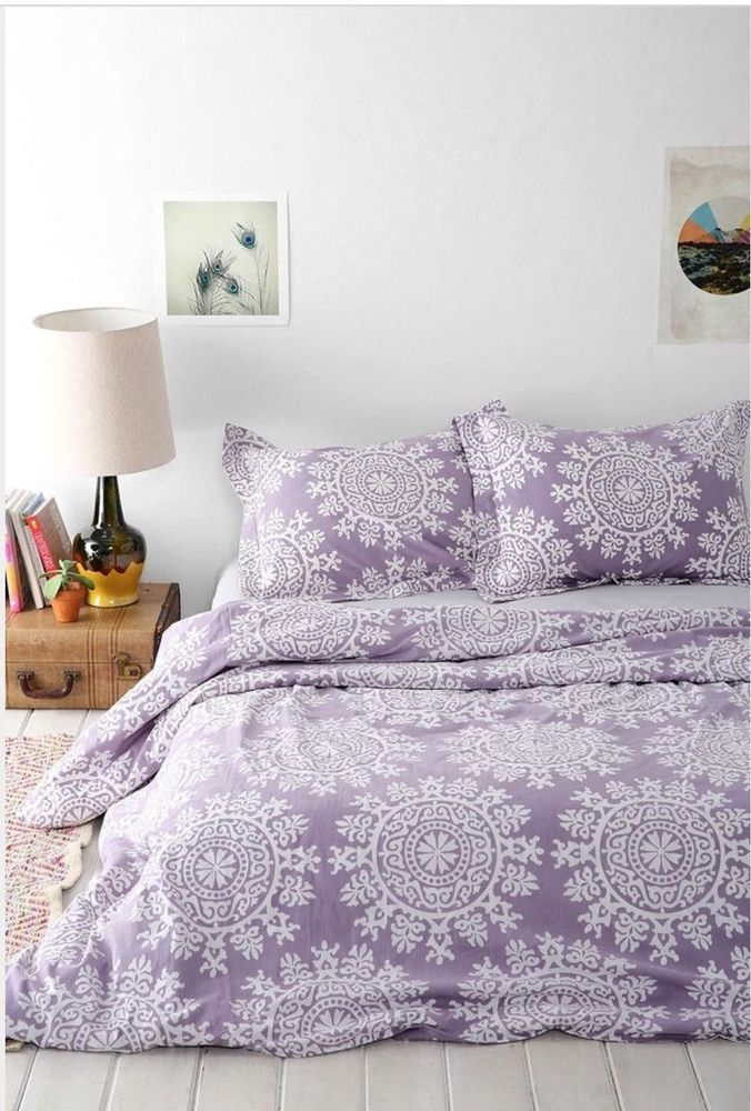 urban outfitters plum and bow maya medallion purple duvet cover 66