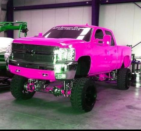 Chevy silverado. Love the hot pink | Pink lifted trucks ...