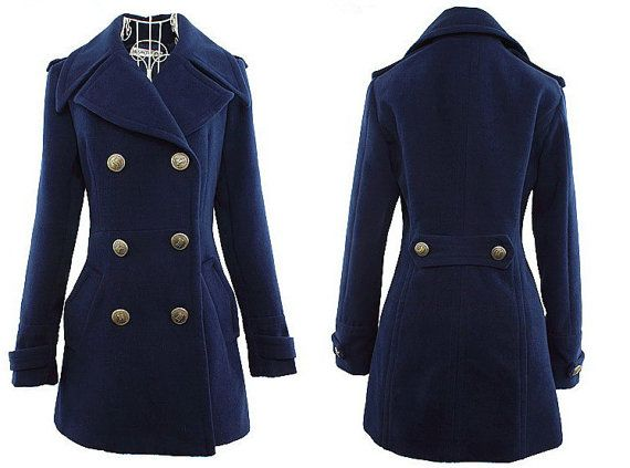 Women Navy Blue Wool coat double breasted button winter coat Hood ...