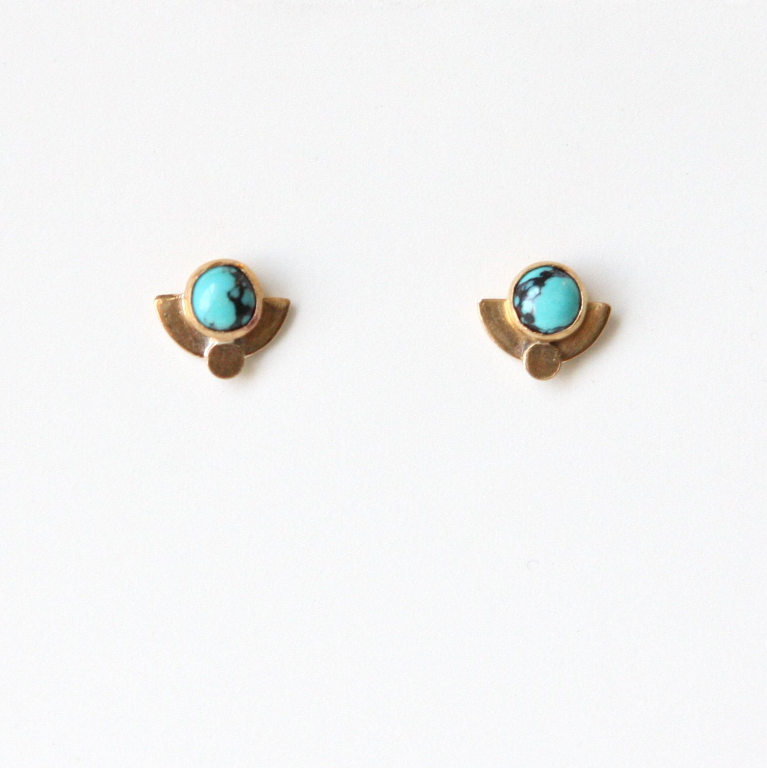 Handcrafted Turquoise Stud Earrings Etsy