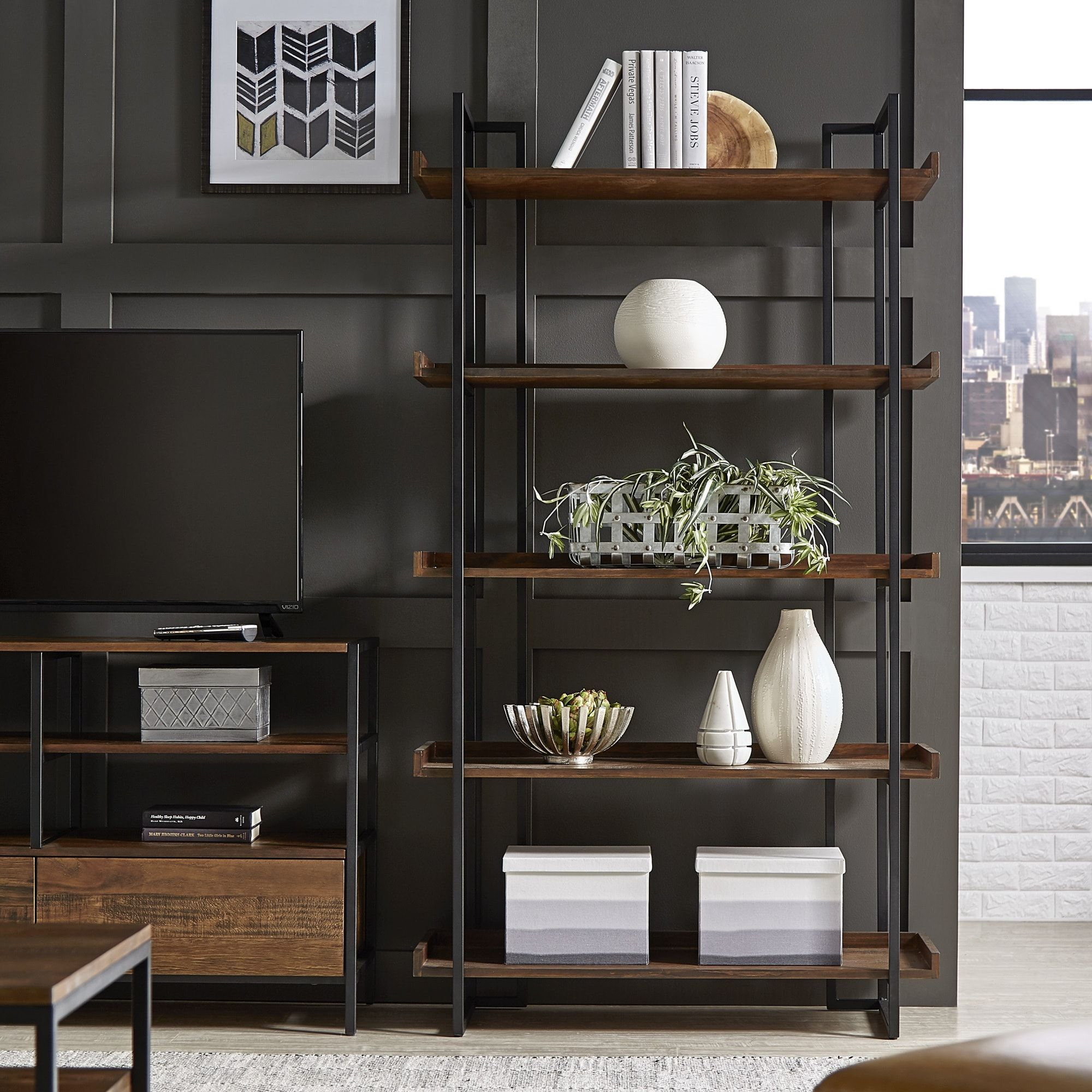 Corey Rustic Brown Etagere Bookcases By Inspire Q Modern Italian