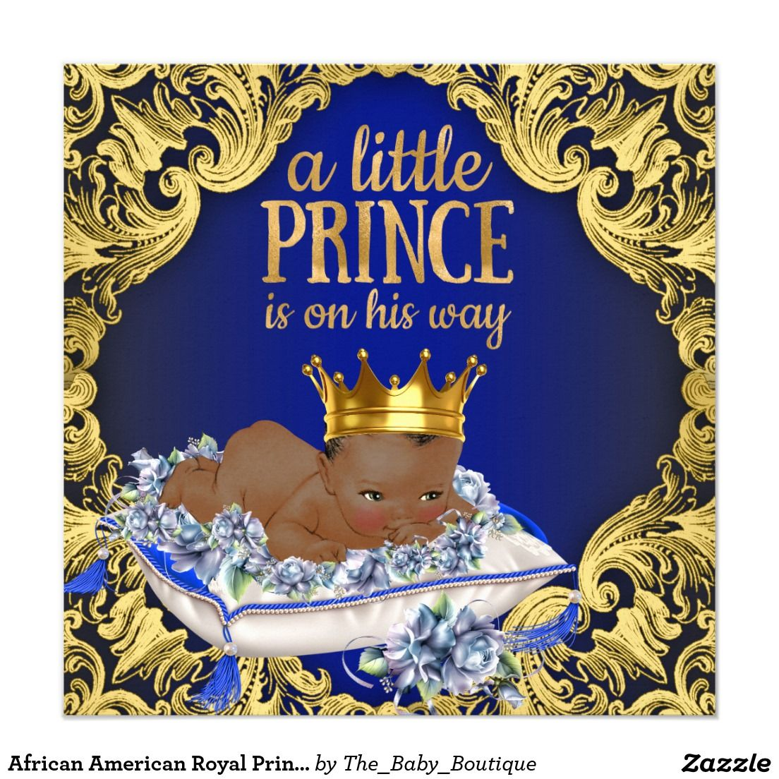 African American Royal Prince Baby Shower 5.25x5.25 Square Paper ...