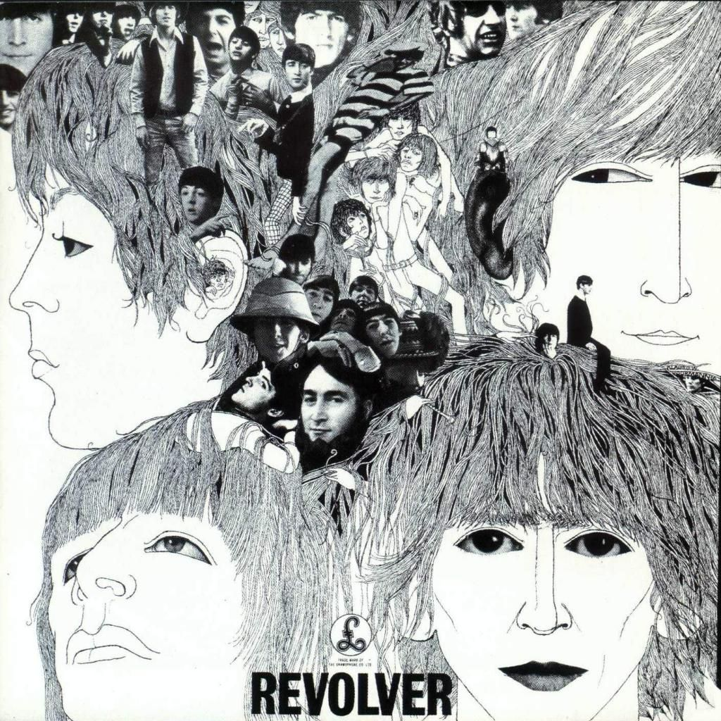 """The black and white cover of The Beatles' Revolver is as memorable as the hook in """"Eleanor Rigby."""" German-born artist Klaus Voormann hand-sketched each of the four members in ink, and then combined them into a collage featuring various photographs of the band. Voormann even managed to sneak himself into the cluster of images. A photograph of the artist can be found hidden in George Harrison's hair on the far right side of the cover."""