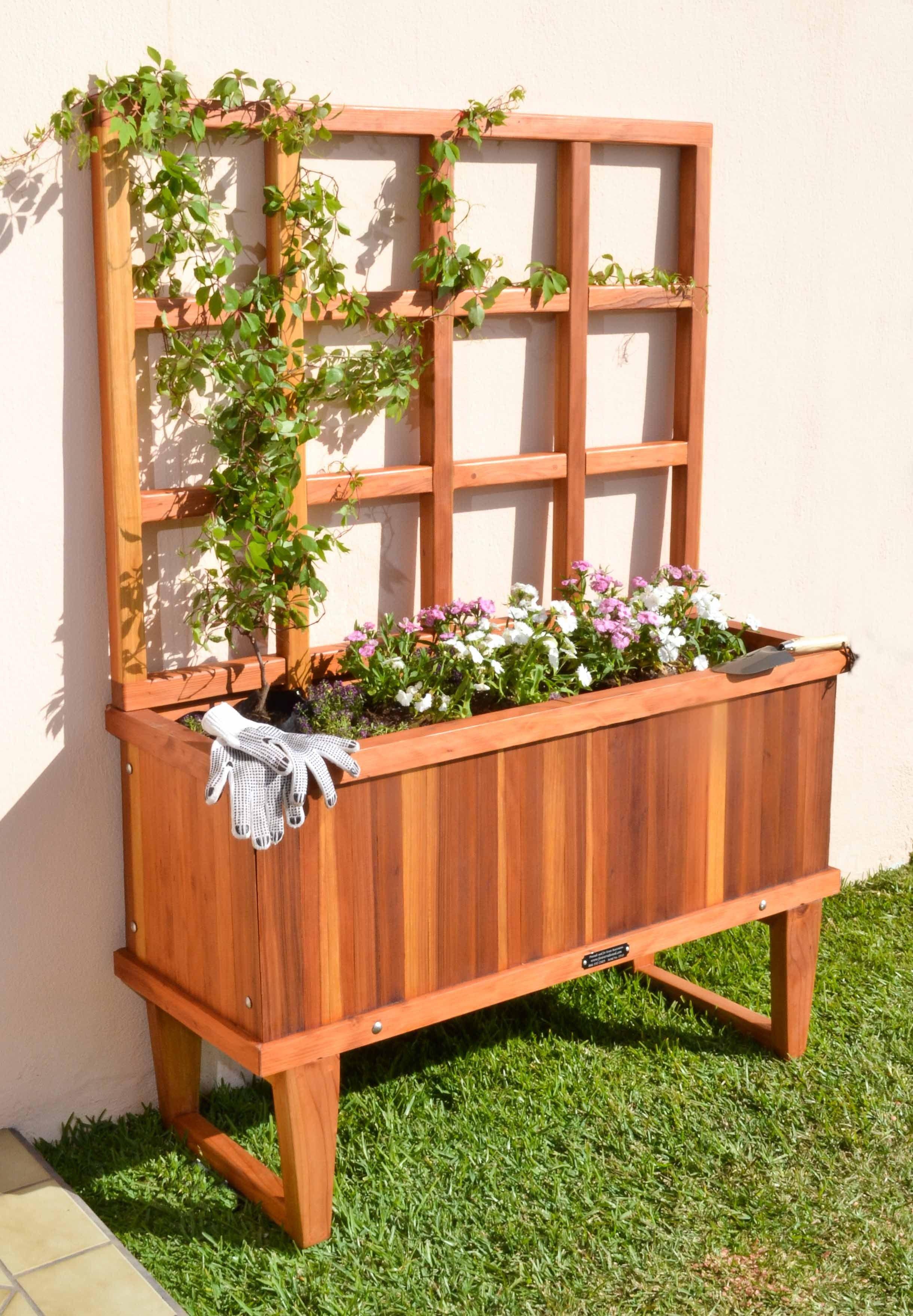 Portable Flower Bed Pallets Garden Redwood Planter