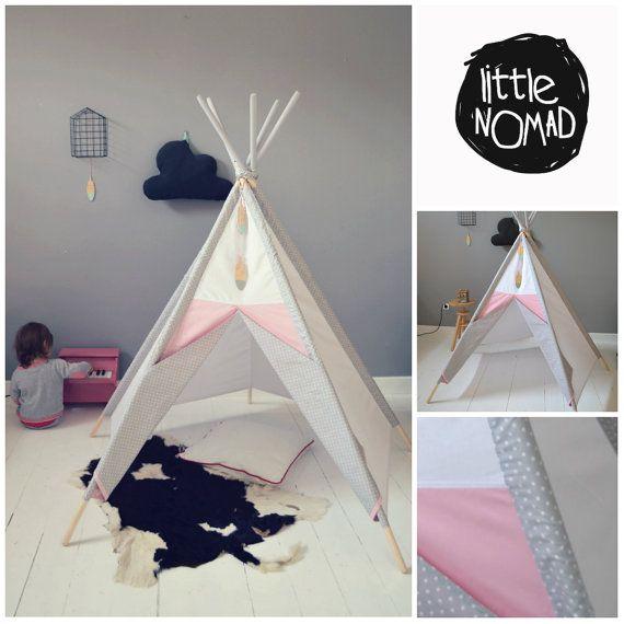 Kids teepee tents Wigwam Zelt Tent Playtent by TeepeeLittleNOMAD & LittleNOMADu0027s teepee / whitepinkgrey by TeepeeLittleNOMAD on Etsy ...