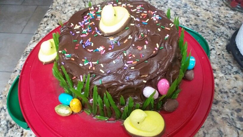 Easter Cake made w/love. White cake w/layered raspberry filling & chocolate icing. It was DELISH!