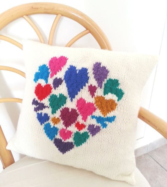 Knitting Pattern For Heart Pillow Cushion With Heart Shaped