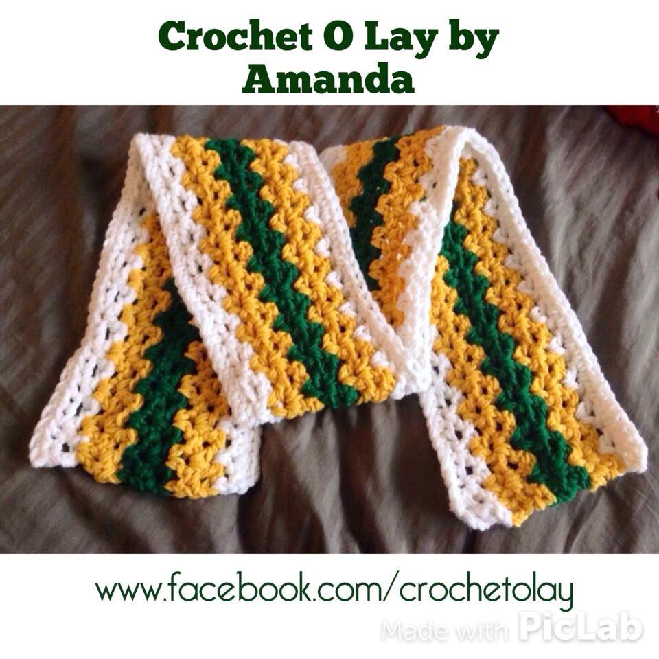 Crochet Green Bay Packer Scarf! | Crochet O Lay by Amanda ...