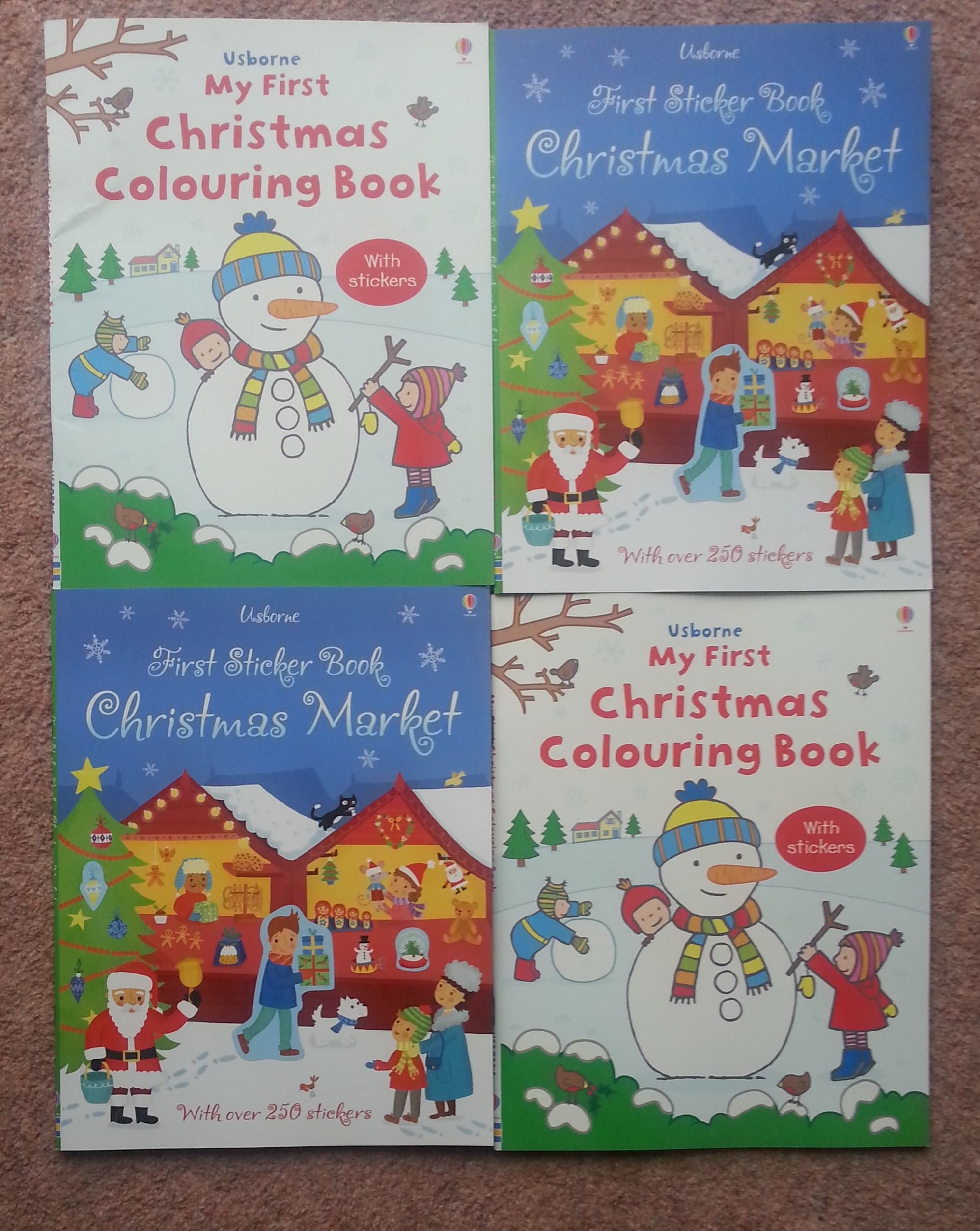 A colouring book with simple festive scenes and stickers ...