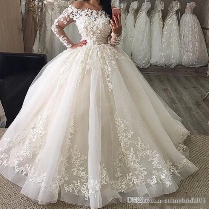 29d9fb6ce6339 Discount 2018 Vintage Long Sleeves Lace Ball Gown Wedding Dresses Illusion  Neckline Court Train Wedding Bridal Gowns Tidebuy Wedding Dresses Vintage  Wedding ...