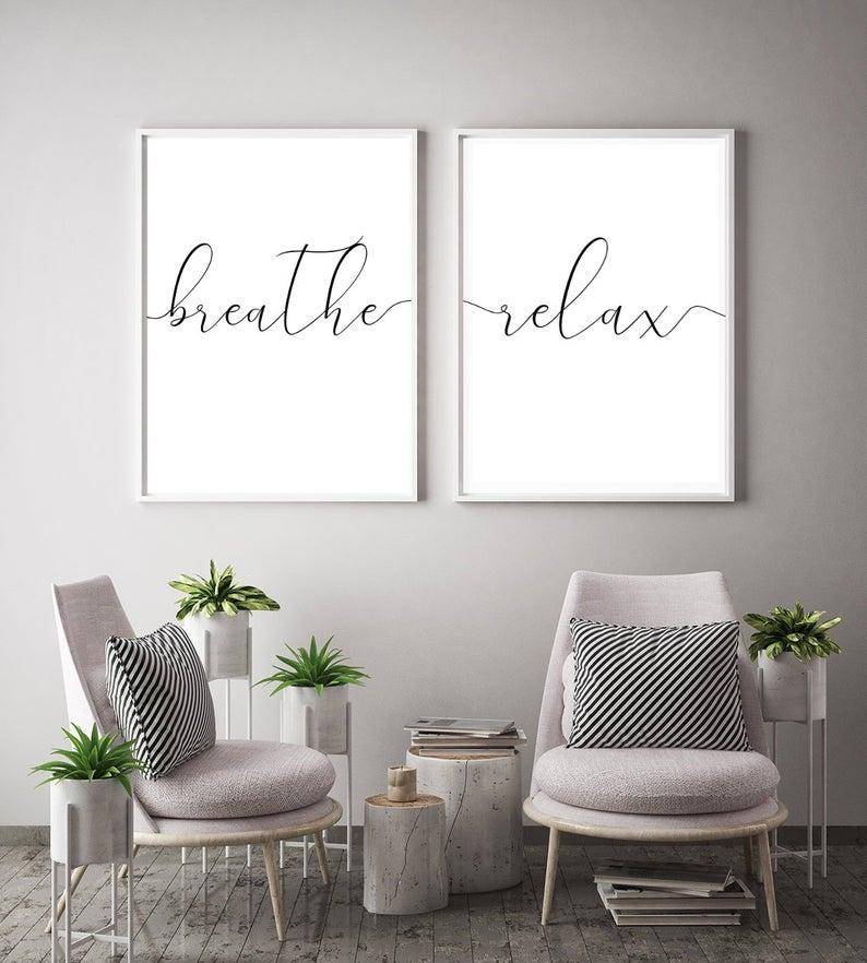 Breathe Prints Set Of 2 Prints Wall Art Relax Print Living Etsy Decoracao De Consultorios Moveis E Decoracao Sala Decoracao De Interiores Salas