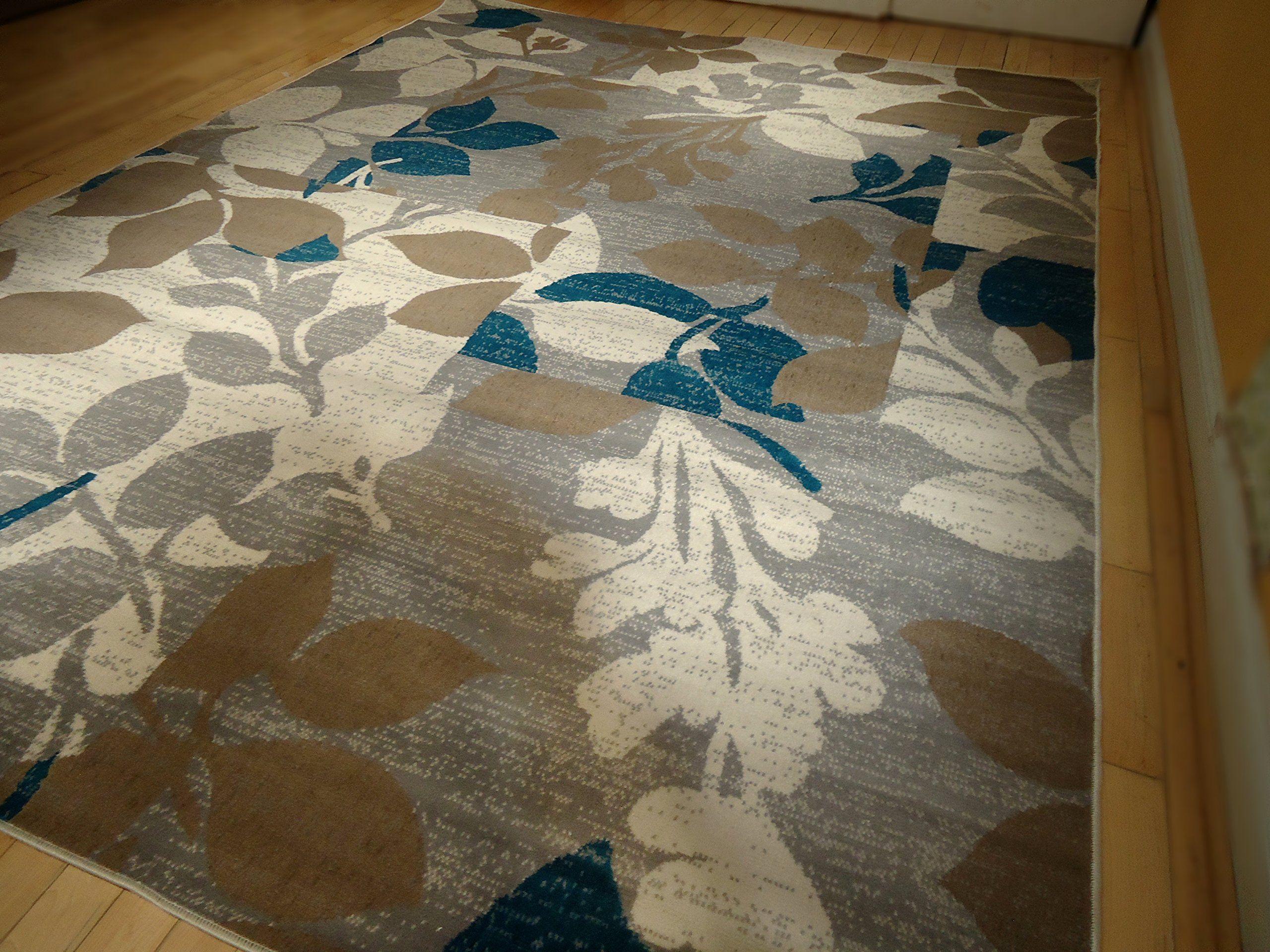 Large Multicolor Modern Area Rug 8x11 Blue Carpet Living Room 8x10 Beige Cream