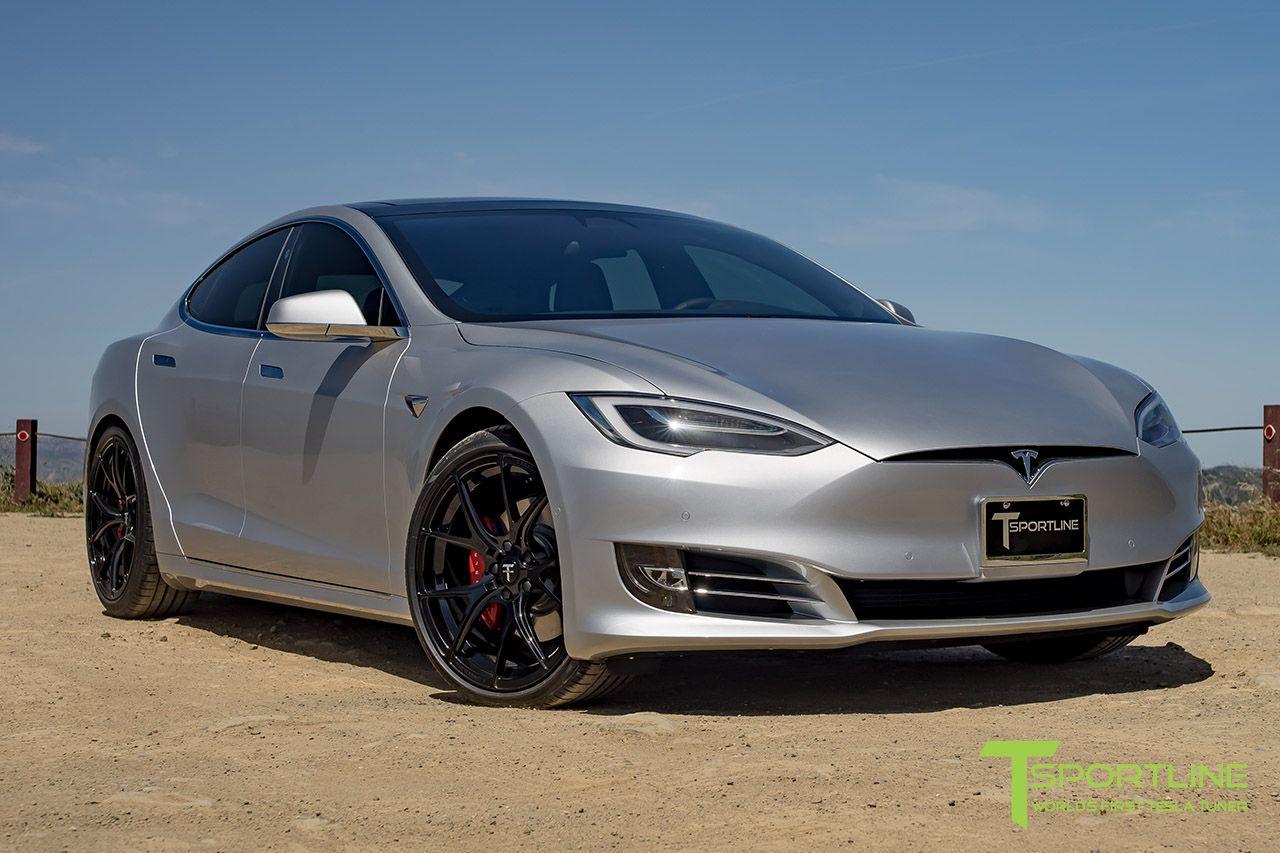 Silver Tesla Model S With Gloss Black Ts115 21 Inch Forged Wheels By T Sportline Tesla Model S Car Wheels Rims Tesla