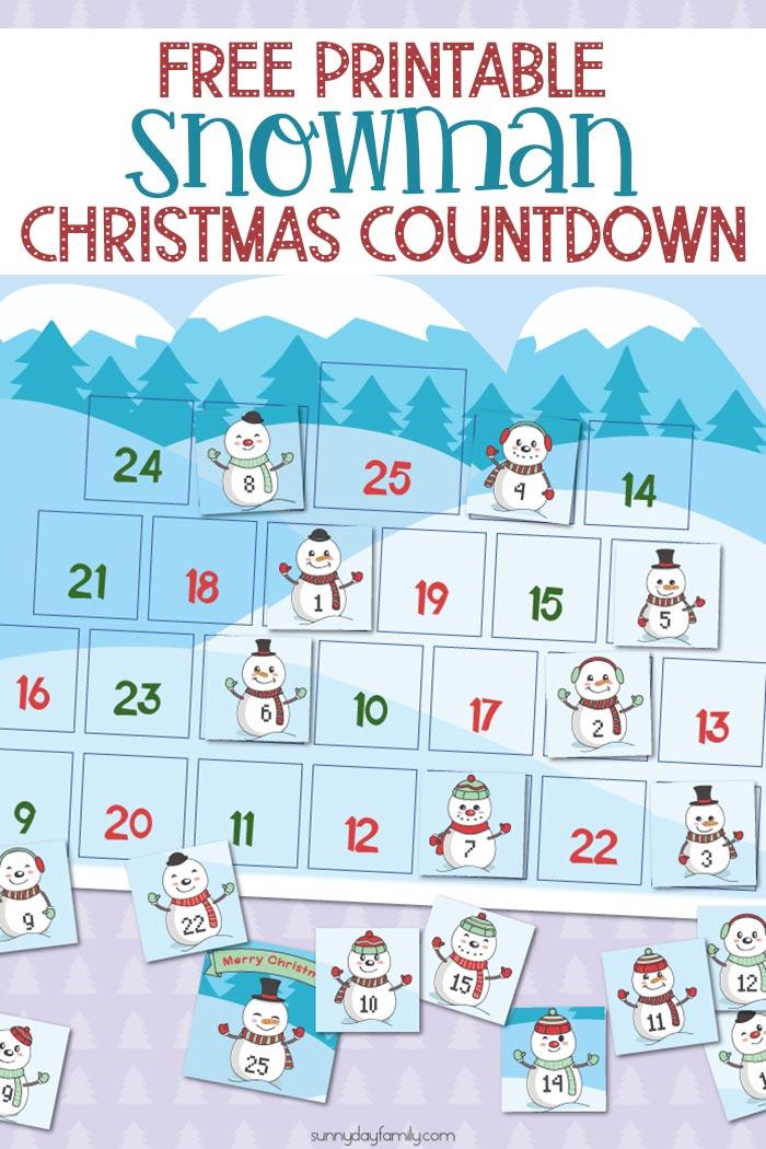 Free Printable Snowman Christmas Countdown Calendar for ...