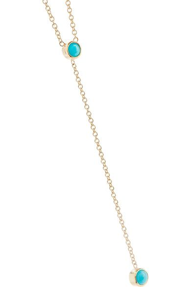 18-karat Gold, Diamond And Turquoise Necklace - one size Jennifer Meyer