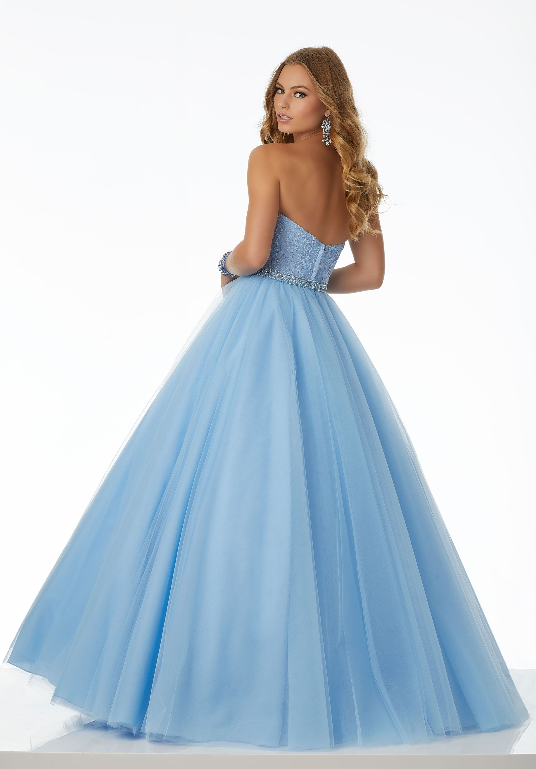 Sweet and simple tulle ballgown featuring lace bodice with deep