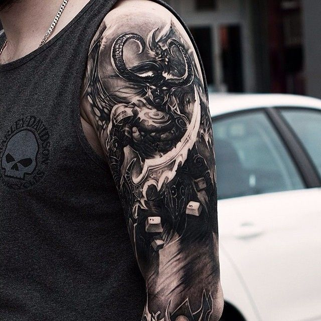 badass world of warcraft half sleeve by our friend oscar akermo wow hots pinterest. Black Bedroom Furniture Sets. Home Design Ideas