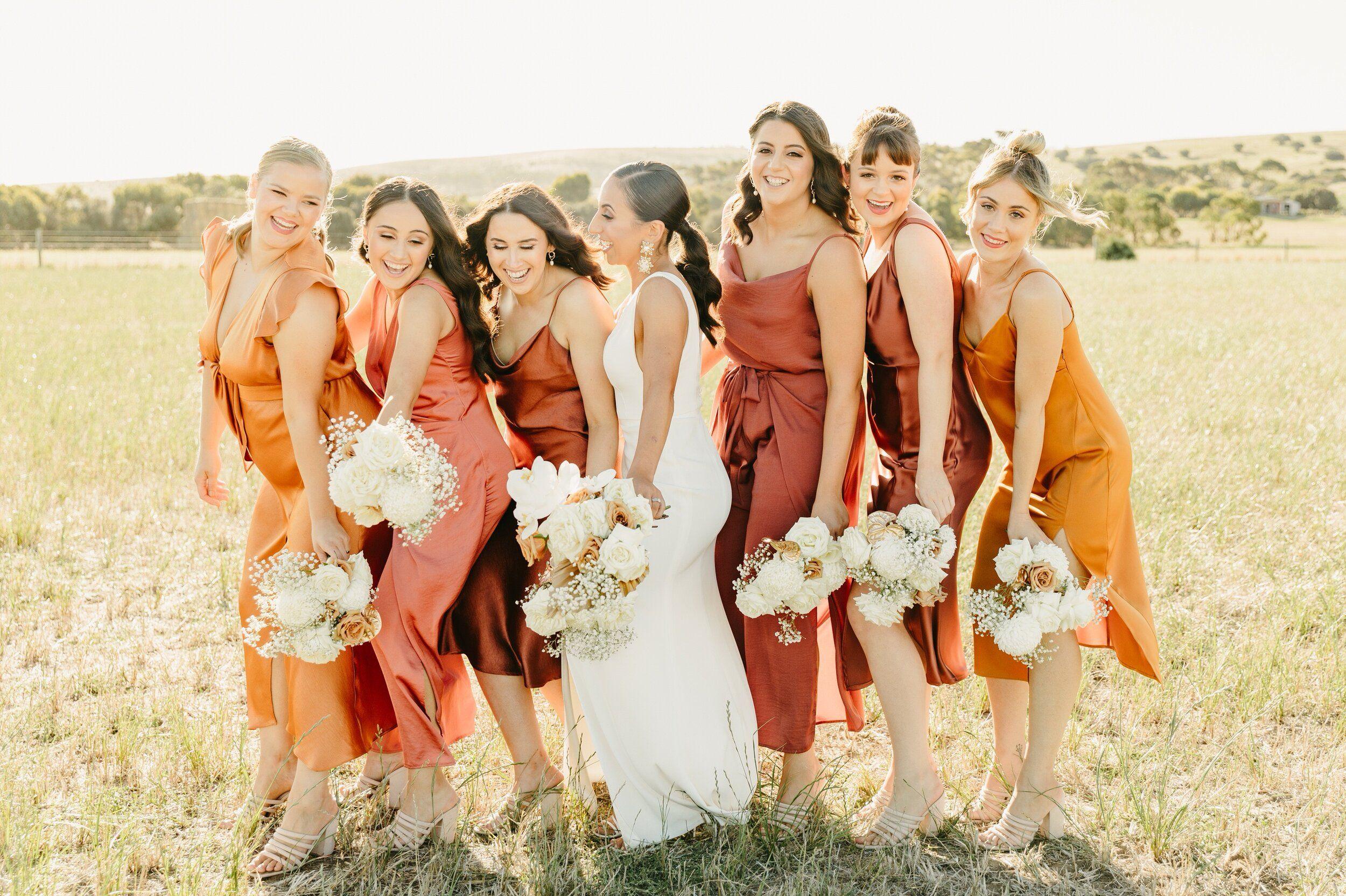 Sophia Michael S Bright Tuscan Vibe Wedding At Waverley Estate Emma Fai Orange Bridesmaid Dresses Burnt Orange Bridesmaid Dresses Summer Bridesmaid Dresses [ 1665 x 2500 Pixel ]