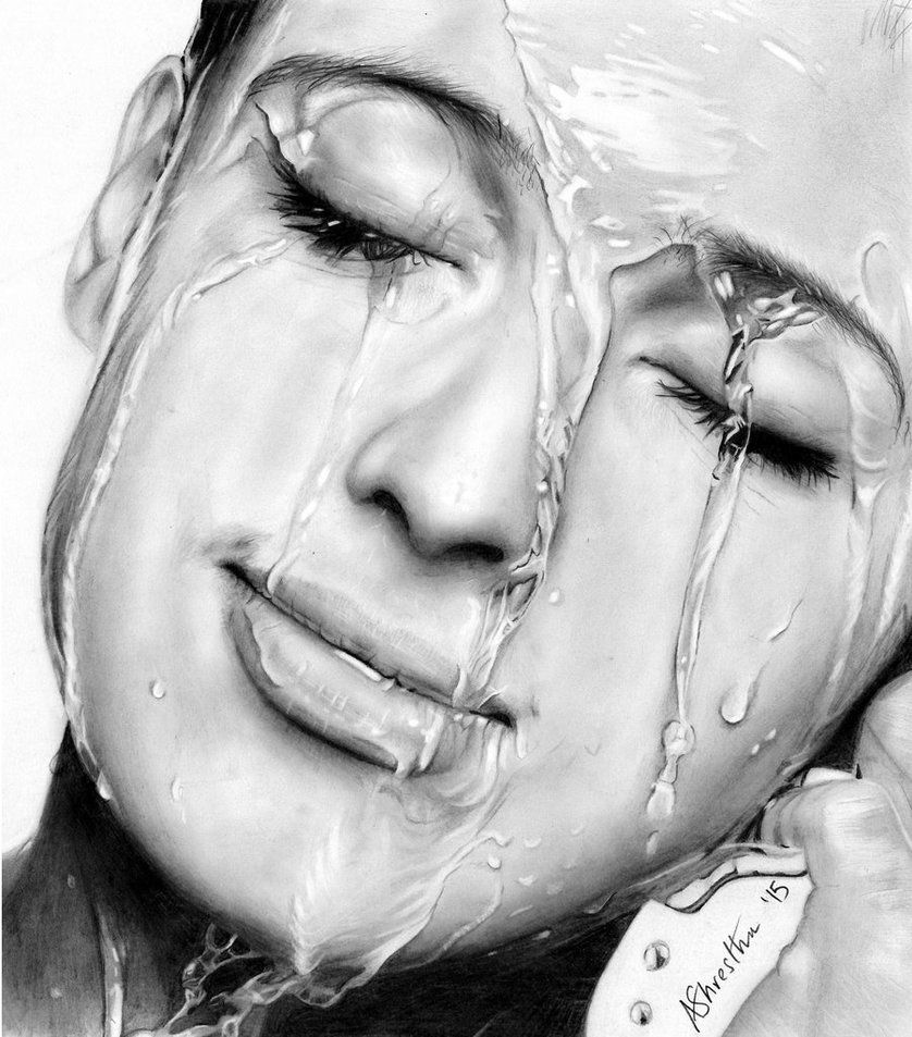 Water on face study by aj3sh pencil drawing