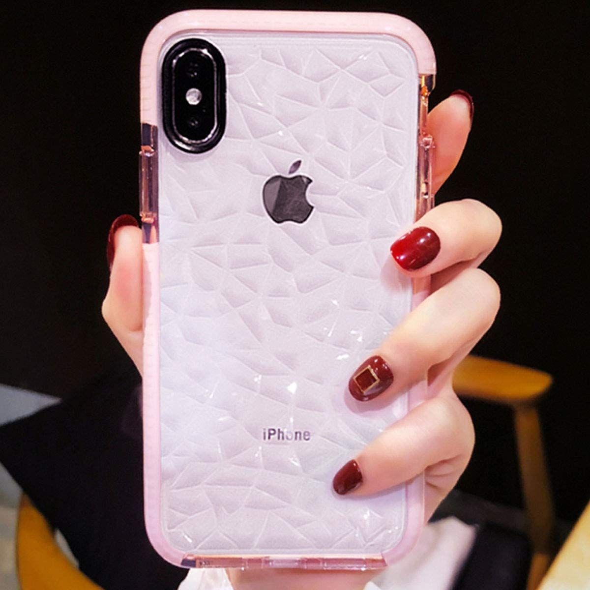 Compatible For Iphone X Xs Case Girls Women Cute Clear Cover With Diamond Pattern Design Girly Phone Cases Iphone Pink Phone Cases