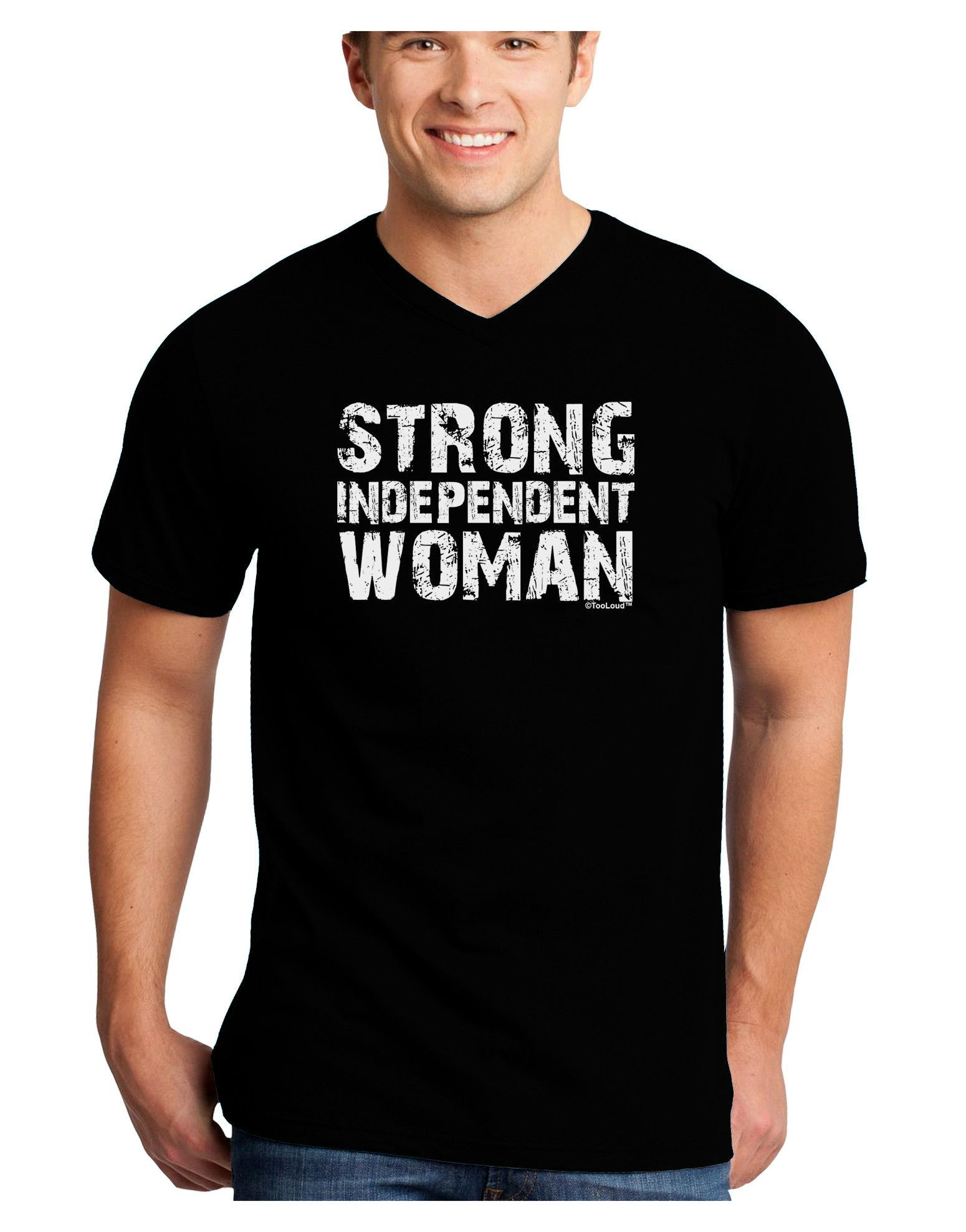 TooLoud Strong Independent Woman Adult Dark V-Neck T-Shirt