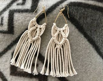 Big tear macrame earrings Peacock earring Tribal jewelerie Hippie natural tear drop earrings