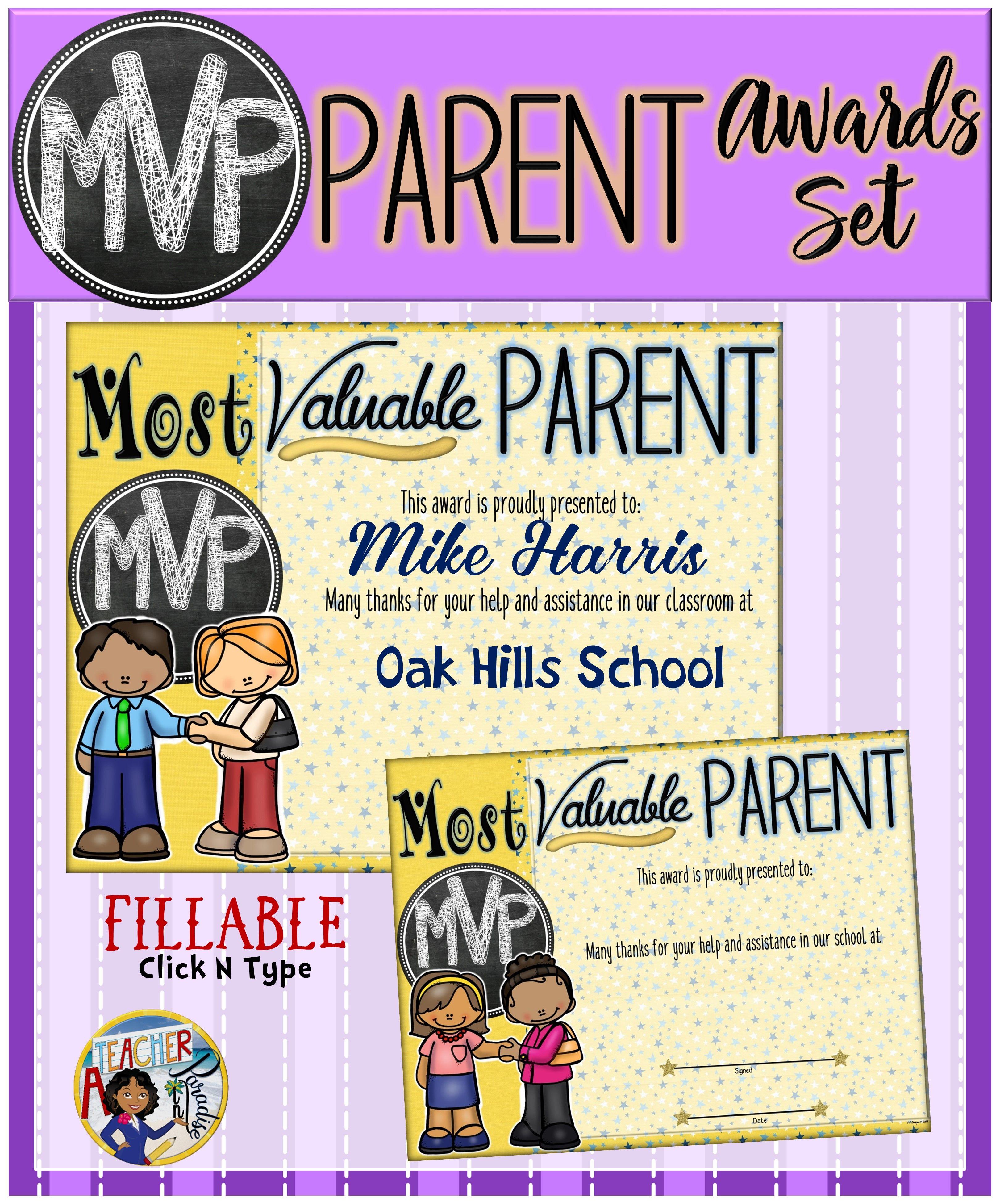 Parents Appreciation Certificates - Fillable