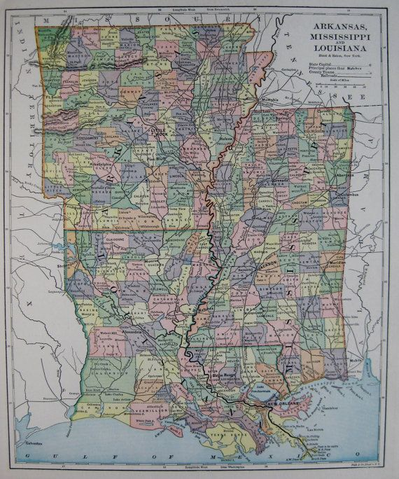 1893 Antique LOUISIANA Mississippi Arkansas Map Gallery Wall Art