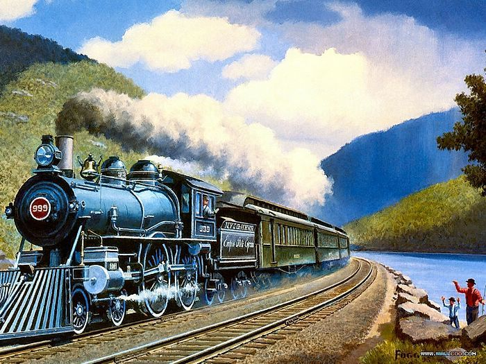 Art Train Journeys : Steam Train Painting by Howard Fogg  - 9Howard Fogg's Trains : 99 Empire State Express   14
