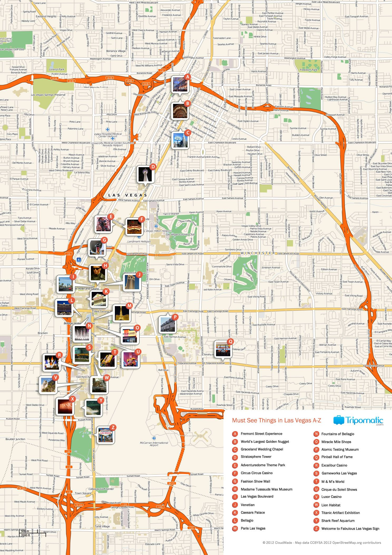 Free Printable Map of Las Vegas attractions. | Free Tourist ...
