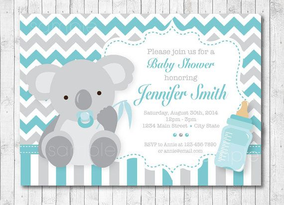 Koala Baby Shower Invitation Digital Printable Invitation