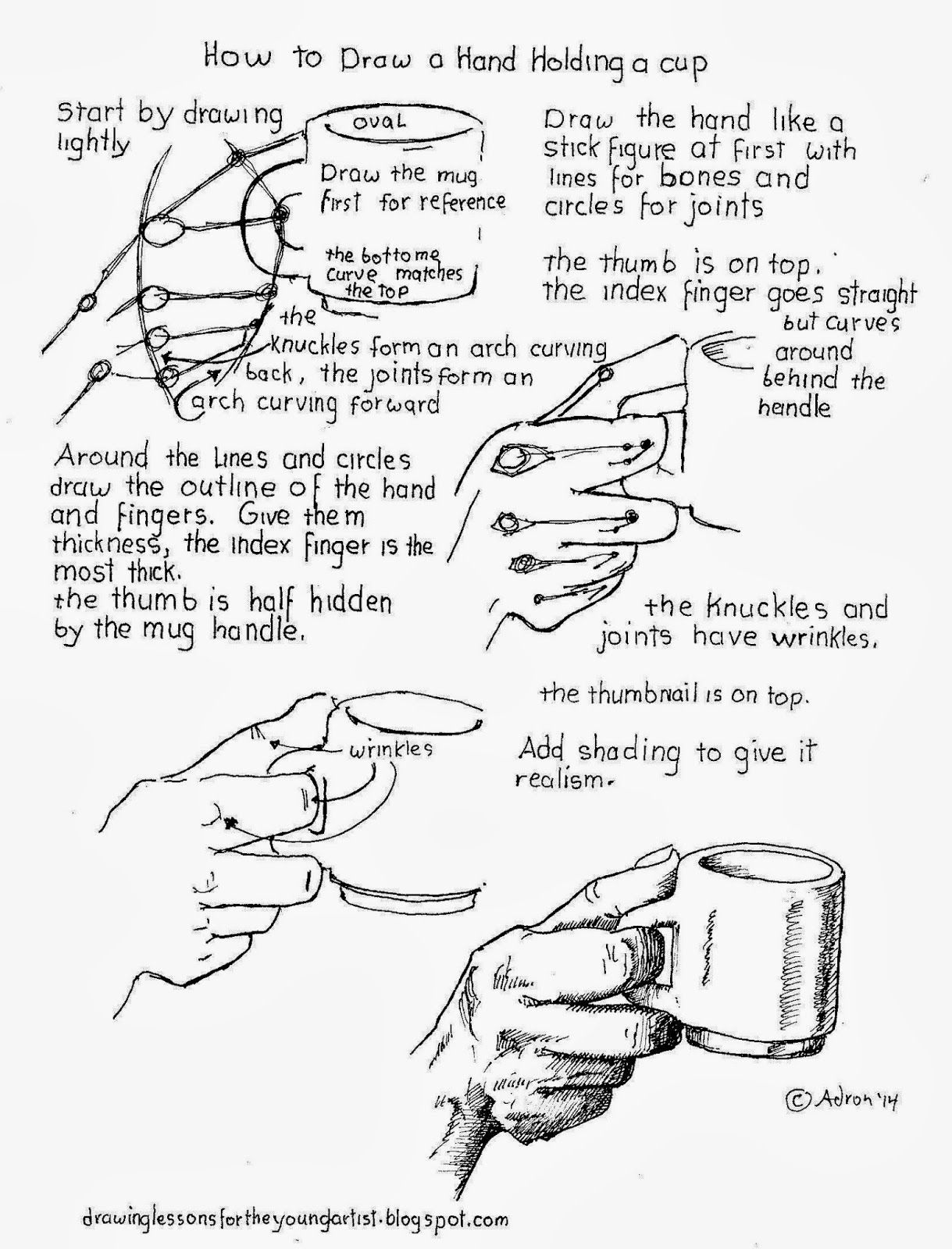 How To Draw A Hand Holding A Coffee Cup Worksheet