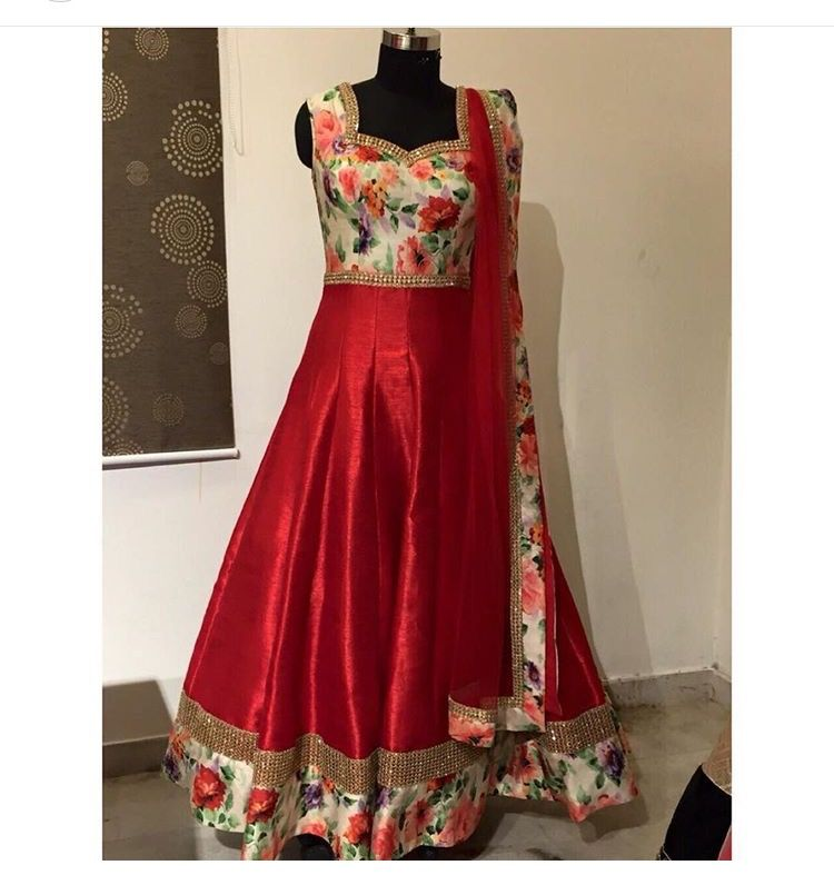 Indian red color chip gaon dress