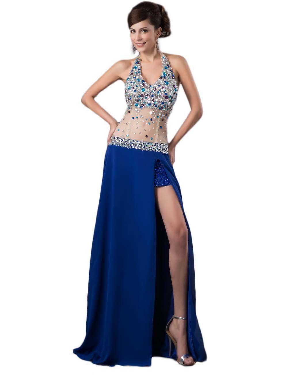 Fnina womenus sexy high slit beaded prom dress halter gown size