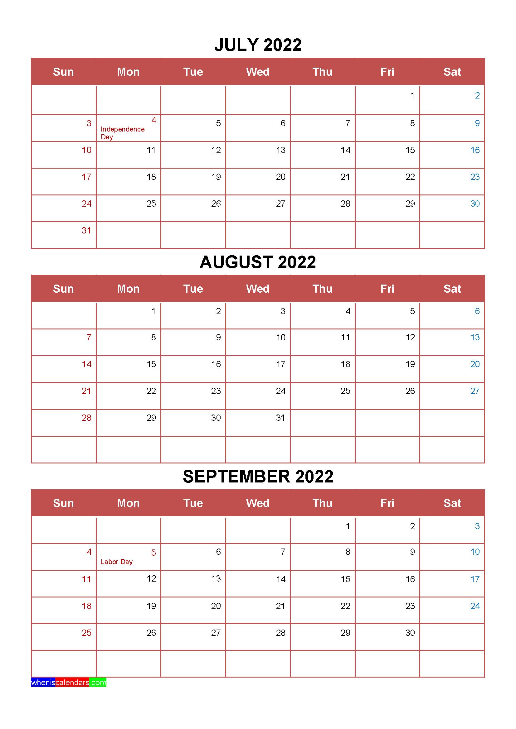 Free Printable Calendar October 2022.Free July August September 2022 Calendar With Holidays Four Quarters Calendar Printables Free Printable Calendar Templates Calendar Template