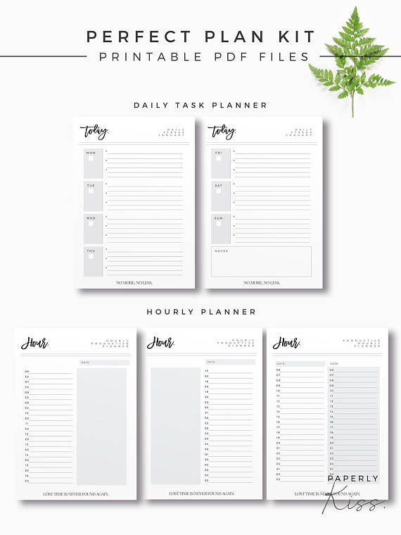 Perfect Plan Kit, Printable Planner Bundle, Modern Life Organizer - daily calendar printable