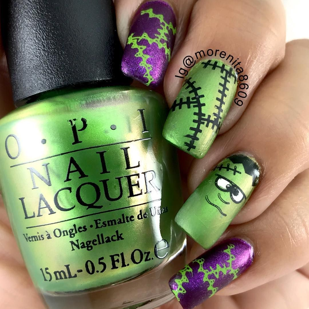 Frankenstein Nails | Nail Art - Autumn and Halloween | Pinterest