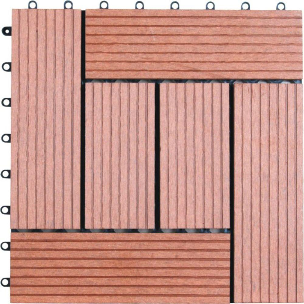 Naturesort 6 Slat 1 Ft X 1 Ft Composite Deck Tile In Dark Tan