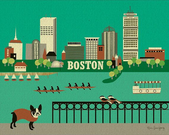 Boston Terrier and Boston Horizontal Skyline Poster for Home, Office, and Nursery - style E8-O-BOS on Etsy, $26.00