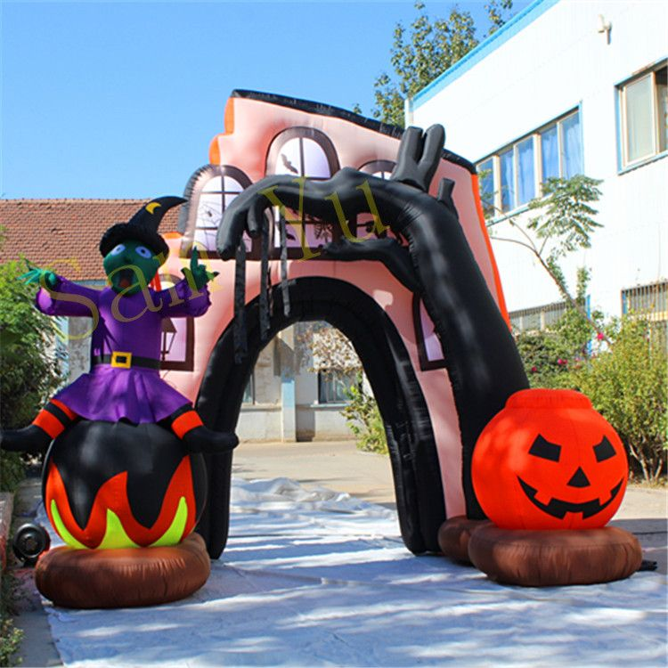 3m High Inflatable Halloween arch with LED light for 2018 Outdoor - outdoor inflatable halloween decorations
