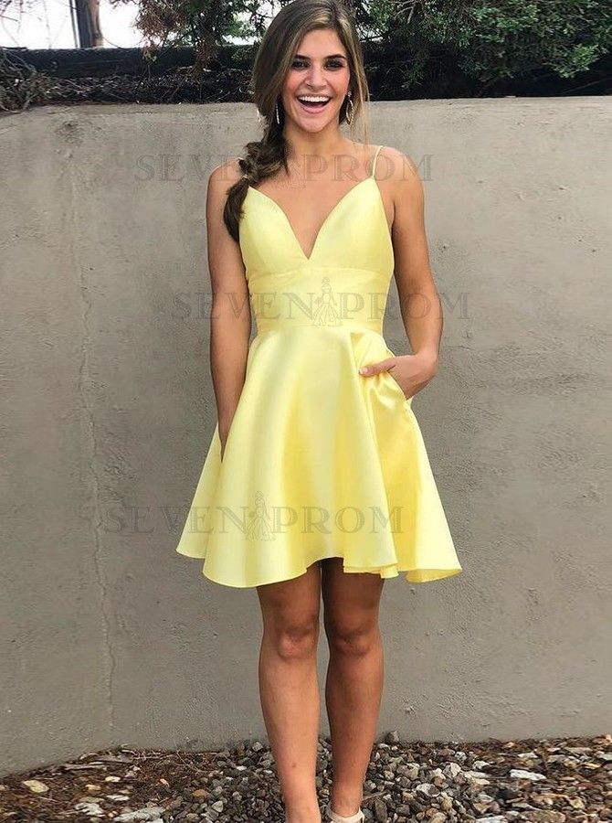 A-Line Spaghetti Straps Short Backless Yellow Homecoming Dress #shortbacklessdress