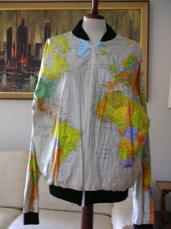 World map jacket tyvek size xl 1980s windbreaker wearin the world world map jacket tyvek size xl 1980s windbreaker wearin the world with original tags from gumiabroncs Choice Image