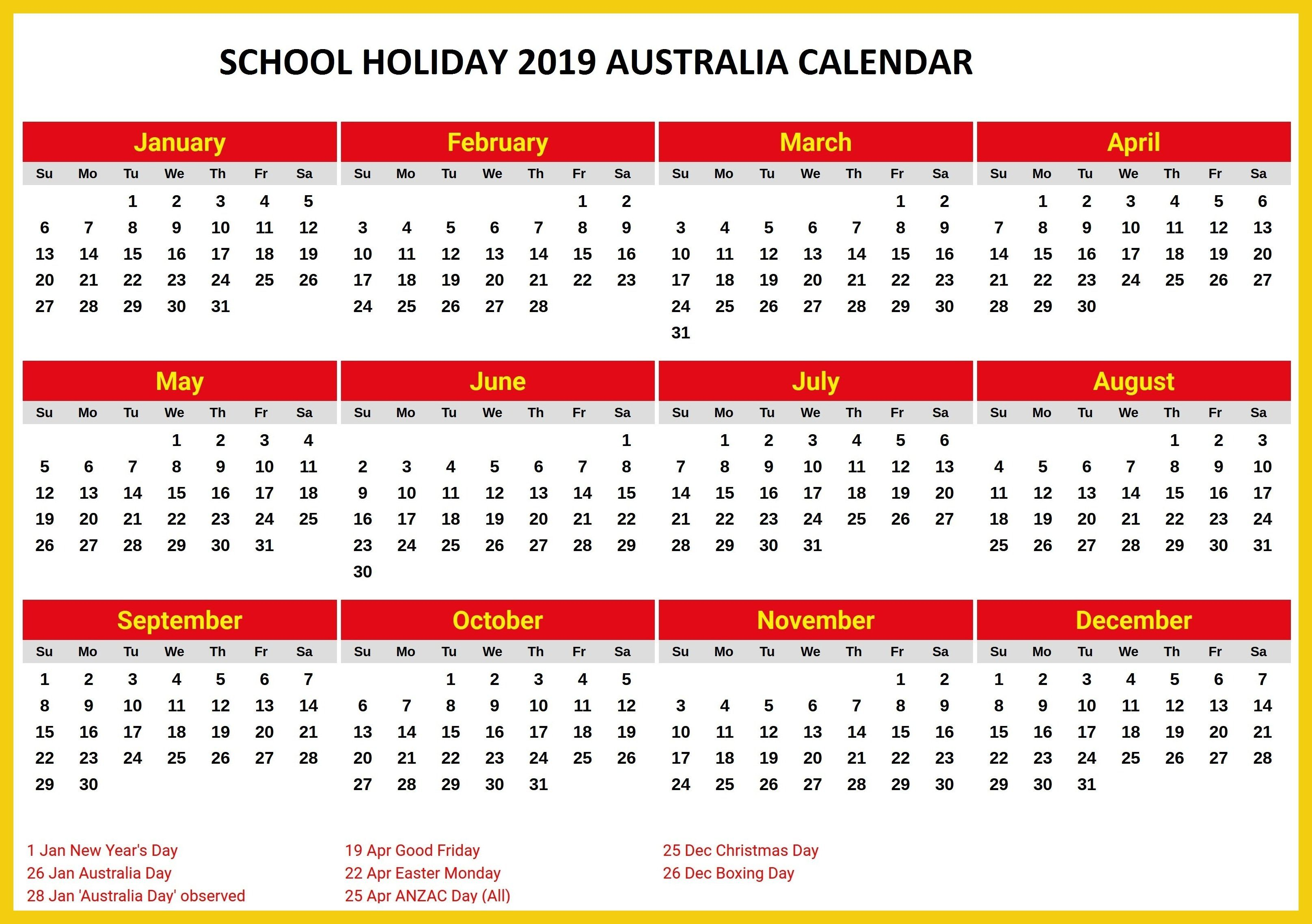 Australia 2019 School Holidays Printable Calendar 2019 Calendars