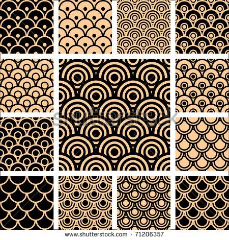 Seamless geometric patterns. Designs set with circle-shaped elements. Vector illustration.