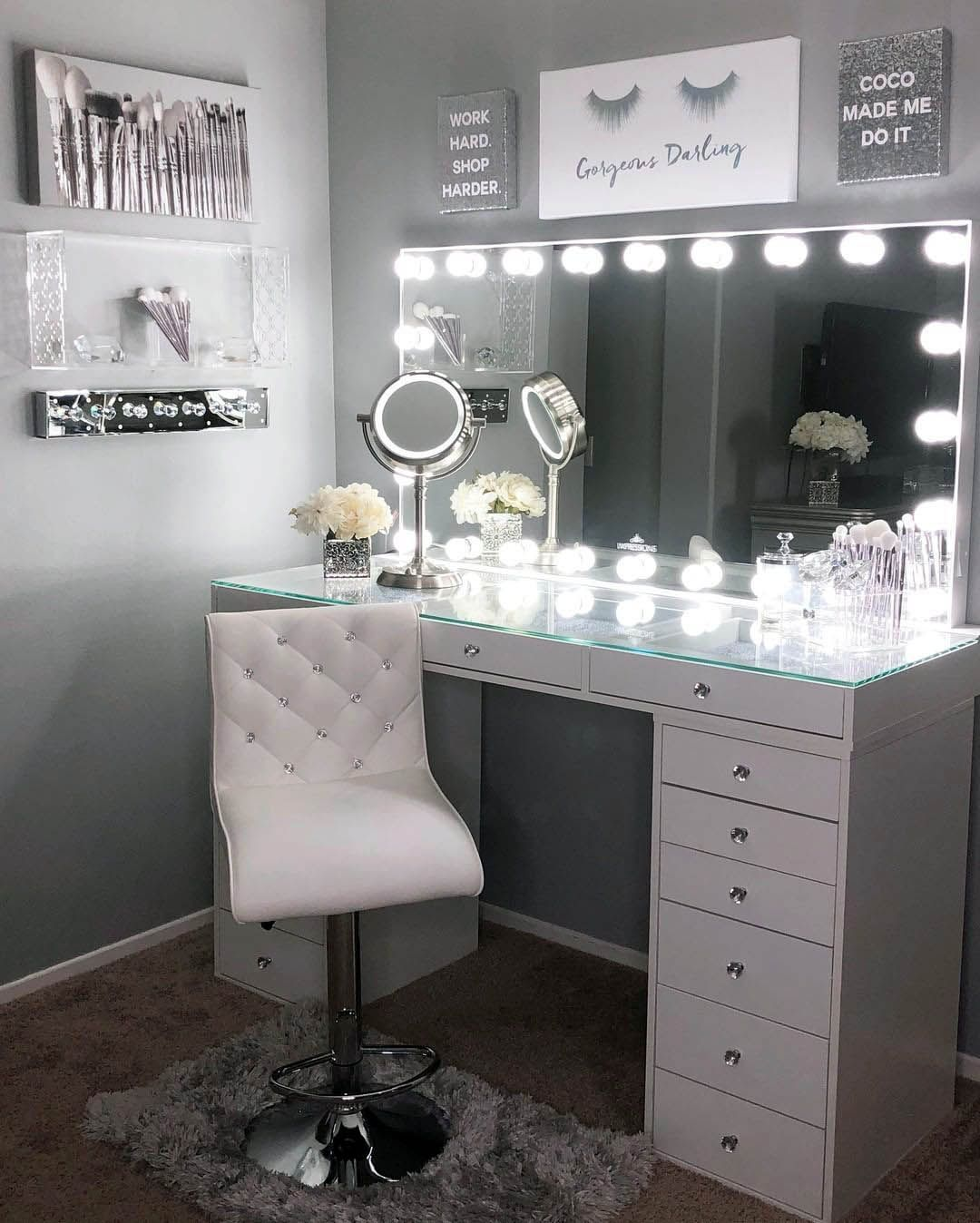 Pin by Melissa on office ideas  Stylish bedroom, Makeup room