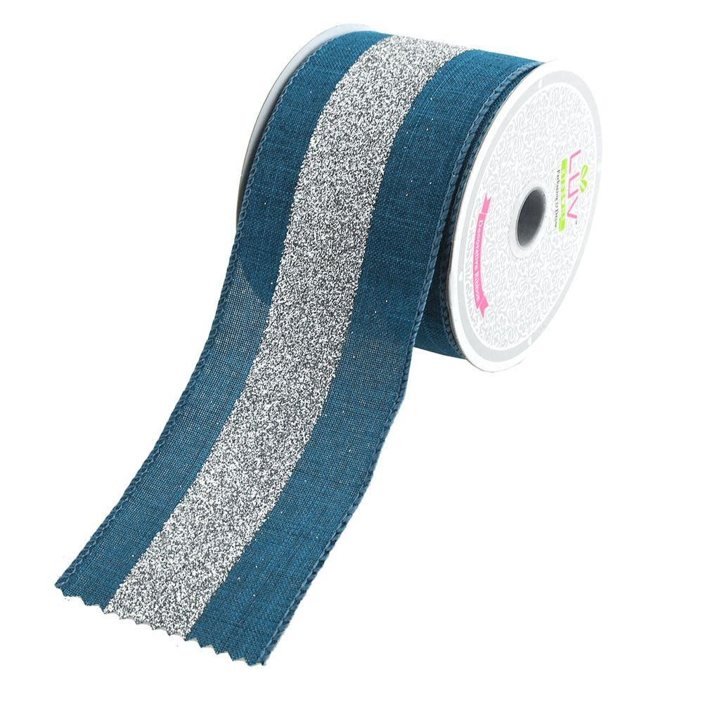 Glitter Webbing Wired Ribbon 2-1//2-Inch 10-Yard